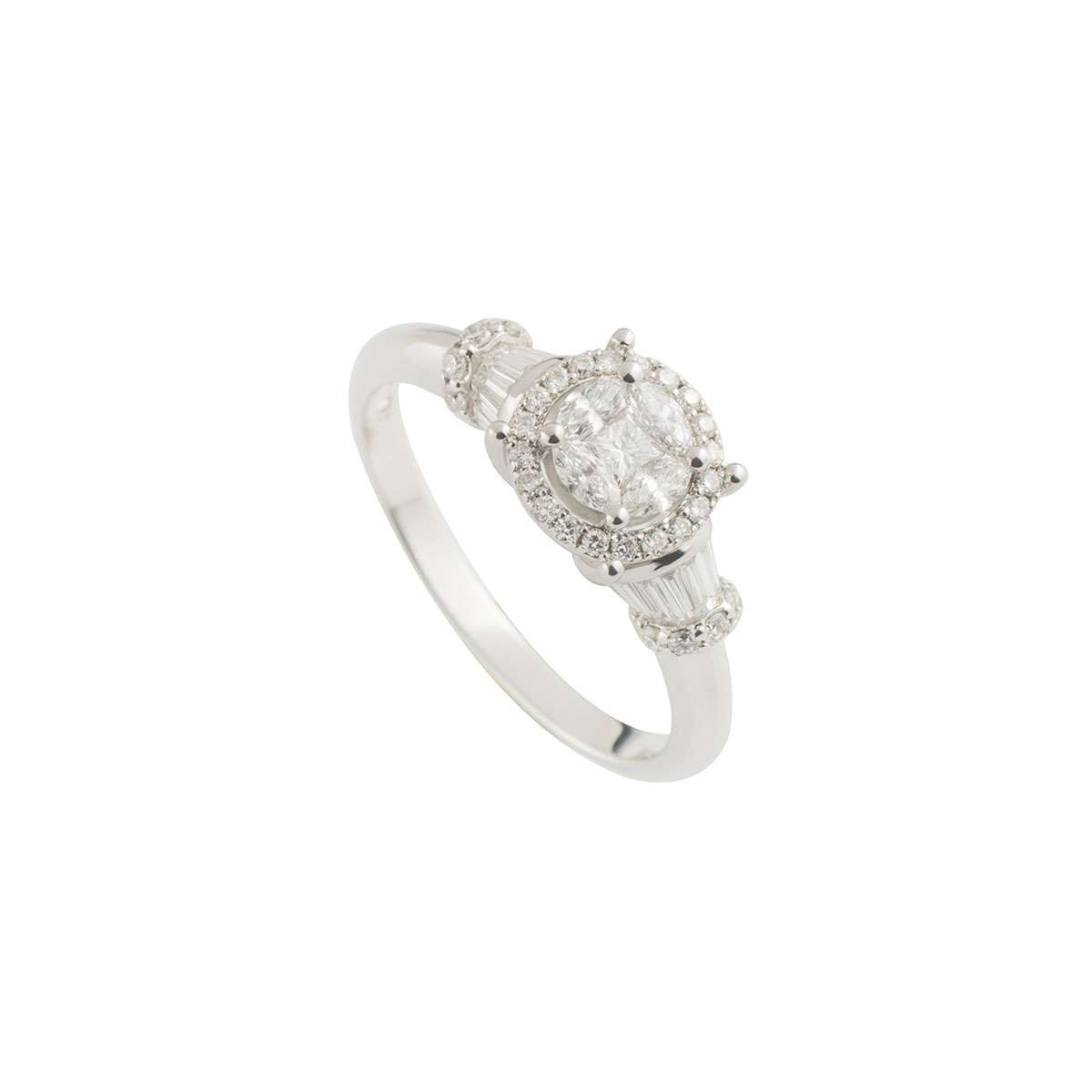 White Gold Cluster Diamond Ring 0.71ct G-H/VS-VVS